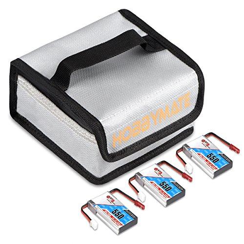 HOBBYMATE 7.4V 550mAh 2S 80C Lipo Battery JST Plug w/Free Fireproof Lipo Bag for King Kong ET115 ET125 Aurora 90 100 and Similar FPV Drone - Pack of 3