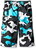 Kanu Surf Boys' Big Specter Quick Dry UPF 50+ Beach Swim Trunk, Camo Black/Aqua, 8