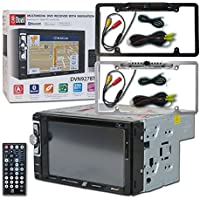 Dual DVN927BT Car audio Double Din 2DIN 6.2 DVD CD stereo USB built-in Navigation & Bluetooth with DCO Full License plate Night vision waterproof back-up camera (Optional Color)