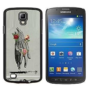 LECELL--Funda protectora / Cubierta / Piel For Samsung Galaxy S4 Active i9295 -- Anatomy Drawing Rosas Lápiz --