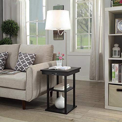 Pan&Pan Lámpara de pie LED con Puertos de Carga USB - Mesita de pie - Mesa Lateral con estantes para sofás de Sala - Lámpara con Brazo oscilante (Color : Blanco): Amazon.es: Hogar