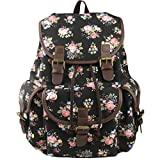 Imiflow Backpack for School Girls College Schoolbags Casual Laptop Purses Book Bags 163 Black
