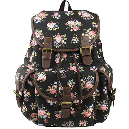 Imiflow Backpack for School Girls College Schoolbags Casual Laptop Purses Book Bags 163 Black (Fashion Teenage)