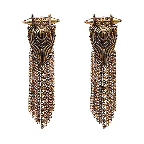 Fringed Jewelry Vintage Firenze Statement Earrings Long Metal Chain Tassel Stud Earring For ()
