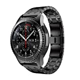Tiean NEW Stainless Steel Watch Bracelet Band Strap For Samsung Gear S3 Frontier (Black)