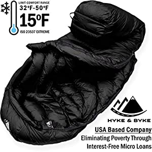 Hyke & Byke 650 Fill Power Down Sleeping Bag for Backpacking – Quandary 15 Degree F Ultralight, Ultra Compact Down Filled 3 Season Men's and Women's Lightweight Mummy Bags