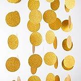 MOWO Glitter Paper Garland Circle Dots with Glitter Powder Hanging Decor 2.5'' in Diameter 20-feet(gold glitter,2pc)