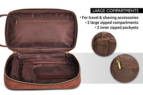 ee9c08d5e835 Vetelli Leather Toiletry Bag For Men (Dopp Kit) with free Travel ...