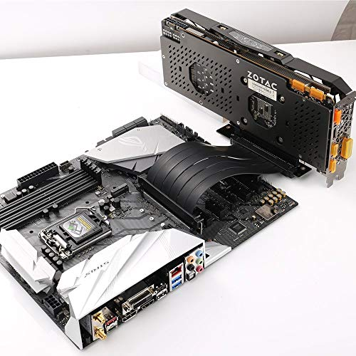 High Speed PCI Express Riser Card PCI-E 3.0 x 16 Riser Card Extender Ribbon Flexible Extension Cable 90 Degree for Computer Graphic Cards (25cm)