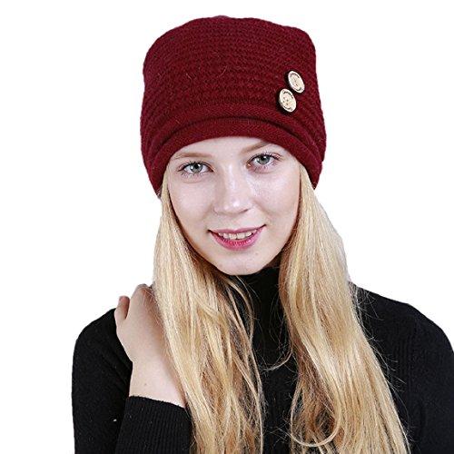 Avec Tricoté Rouge Deux Chapeau Bonnet Boutons Acvip Femme Sombre Rayure qHTOcR