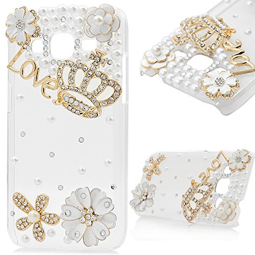 Gold Glitter Jeweled Queens Crown (Core Prime Case,Galaxy G360 Case - Mavis's Diary 3D Handmade Bling Crystal Golden Crown Lovely Flowers with Shiny Sparkle Diamond Pearls Clear Slim Hard Cover for Samsung Galaxy Core Prime SM-G360)