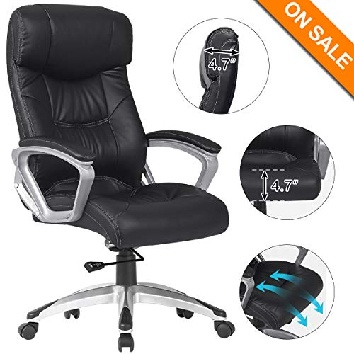 B2C2B Ergonomic PU Leather Swivel Executive Chair Home Office Computer Task Chair Adjustable Desk Chair Black (black-5301)