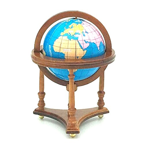 EatingBiting(R) 1:12 1/12 Dollhouse Miniature Furniture Room Wooden Brown Spinning World Globe , Doll House Study Room World Globe , Worth to Keep , Vivid Gift from EatingBiting(R)
