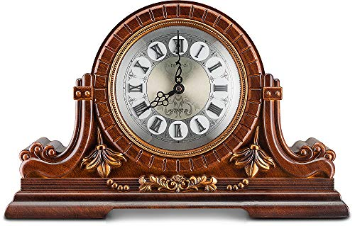 Decodyne Mantel Clock - Large Antique Design Clock with Roman Numerals - Faux Wood