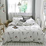 BHUSB Full/Queen Feather Bedding Sets 100 Percent Cotton Duvet Cover Set Queen 3 Piece with Zipper Closure,Reversible Grey Stripe Pattern Duvet Comforter Cover with 2 Pillowcase Full Size