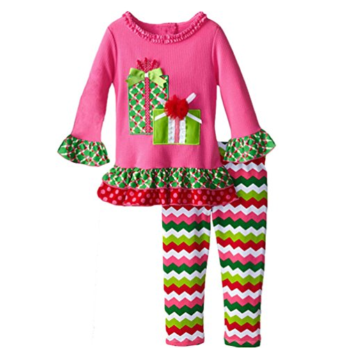 Dudebabe Little Girls 1-5 Years Christmas Outfit Long Sleeve Shirt Leggings 2 Pieces Set 2Y Candy (Candy Cane Outfit)