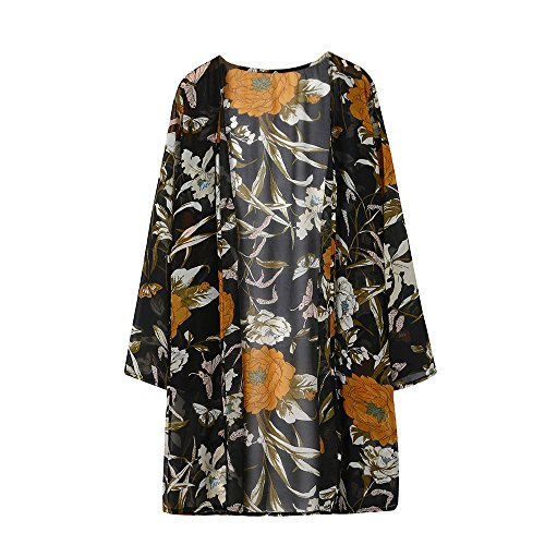 Convinced Women Swimsuit Cover Up Cardigan Tops Floral Print Long Chiffon Shoet Sleeve (L, Black)