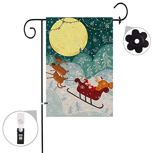 "Bonsai Tree Christmas Burlap Garden Flag Sets,Weather Resistant and Double Stitched,Double Sided Santa Clause with Sleigh and Reindeer Flags with a Rubber Stopper Stop and a Anti-Wind Clip,12""x18"""