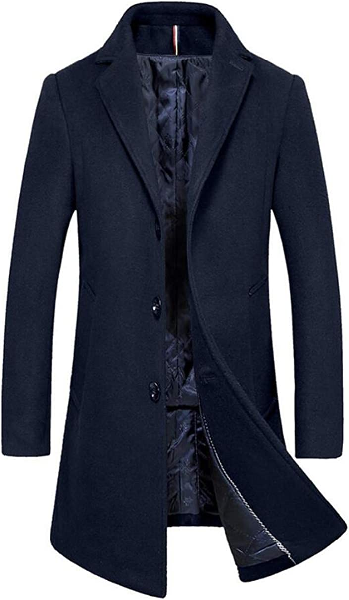 Cafuny Mens Wool Blend Business Outfit Jacket Single Breasted Trenchcoat Overcoat