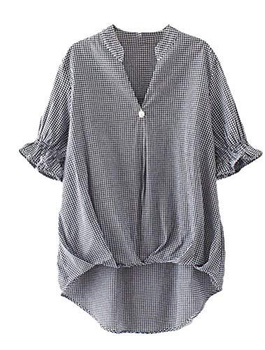 Basic Chemise Courtes Cou Carreaux Et Blouse Tunique Femme Loisir Mode V Large Manches Elgante Schwarz Asymmetric Irregular Vintage Tops Shirt Vetement vww4qTf
