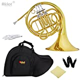 Aklot Intermediate F Single French Horn 3 Keys Gold with Silver Plated Mouthpiece for Beginner Music Education