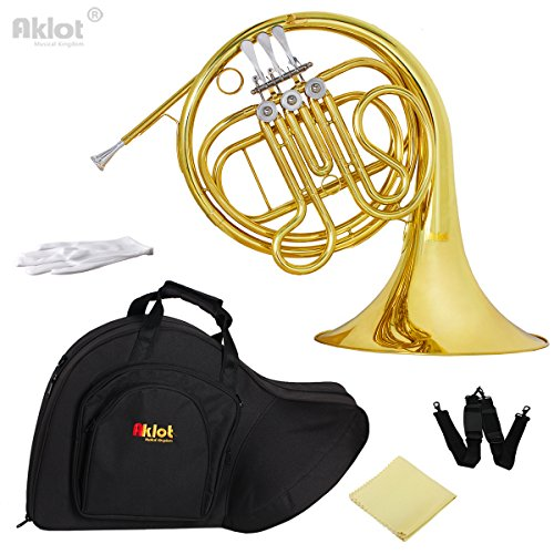 AKLOT F Single French Horn 3 Keys Intermediate Gold with Silver Plated Mouthpiece for Beginner Student Education by AKLOT