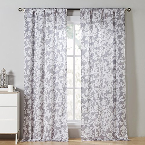 DESIGNER LINEN'S OUTLET Grey & White Floral Print Pole Top Window Curtain Pair Panel Insulated Drapes For Bedroom, Livingroom, Kids, Children, Nursery - Assorted Colors - 38 by 84 Inches, 2 Pieces