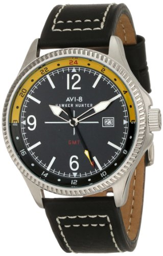 AVI-8 Men's AV-4007-02 Hawker Hunter Analog Swiss-Quartz Black Watch
