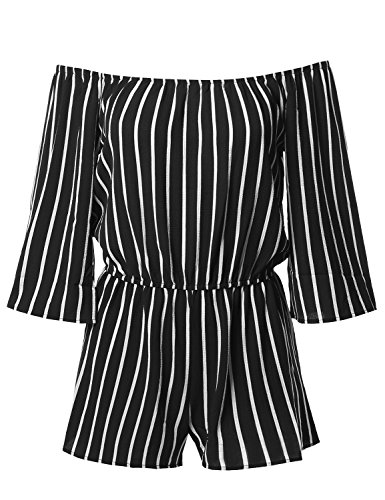 Ladies Pinstripe - Awesome21 Pinstripe Print Off-Shoulder Romper Jumpsuit Black Size L