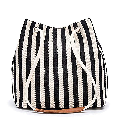 Women's Tote Bag Medium Canvas Shoulder Bag Daily Working Handbag with Concise Striped Pattern (Black)