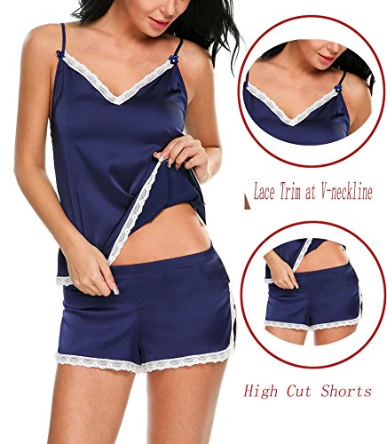 Dicesnow Womens Silk Sexy Sleepwear Lace Decor Neckline Satin 2 Piece Cami Short Pajama Set
