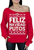 Awkward Styles Feliz Navidad Putos Sweater Off The Shoulder Slouchy Oversized Sweatshirt S Red