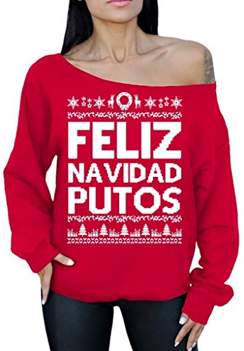 [Awkward Styles Feliz Navidad Putos Sweater Off the Shoulder Slouchy Oversized Sweatshirt M Red] (Pablo Escobar Narcos Costume)