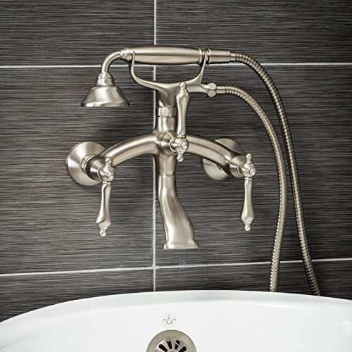 (Luxury Clawfoot Tub or Freestanding Tub Filler Faucet, Vintage Design with Telephone Style Hand Shower, Wall Mount Installation, Lever Handles, Brushed Nickel Finish)