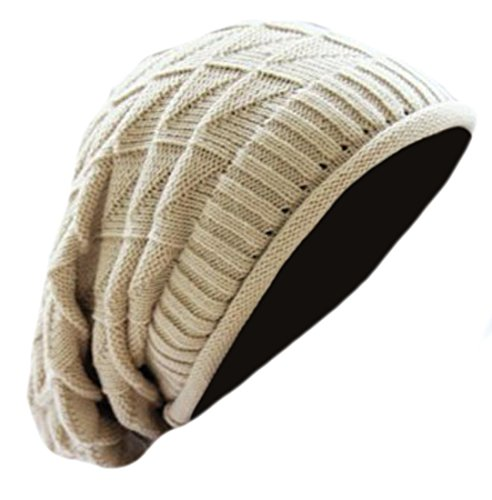 [XQS Unisex Trendy Soft Stretch Cable Knit Slouchy Beanie Skully M white] (M Bison Costume)