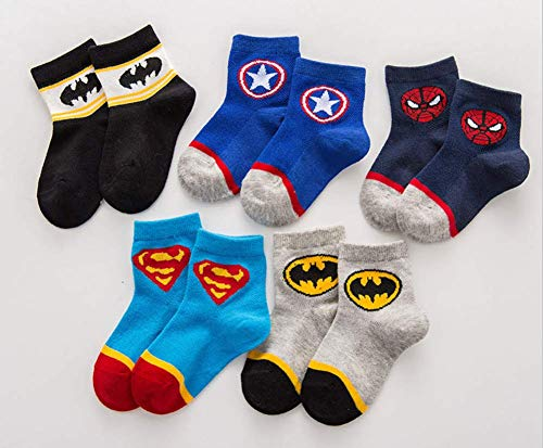 Astra Gourmet Kids Boys Cartoon Superhero Avengers Patterned Cotton Socks Crew Socks Ankle Socks for Baby Toddler Child Kids 5 Pairs Pack(M 5-7 years -