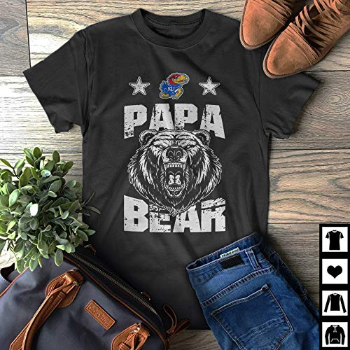 Kansas Jayhawks Papa Bear Fan Gift Father's Day Dad Gift T-Shirt