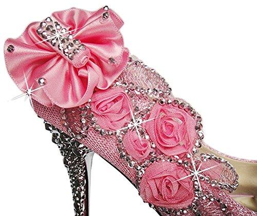 Bout PADGENE Femme Escarpins Talon Fermé Strass Mariage 40 Fleurs Soirée Rose 34 Diamant Aiguille Cérémonie Talons Taille Hauts adrwBaxqY