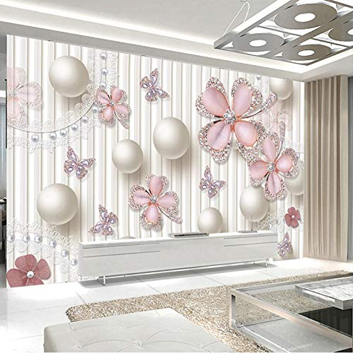 3D Stickers Decorations Murals Wall Wallpaper Pink Pearl Flower Living Room Leather Art Kids Room (W)400x(H)280cm