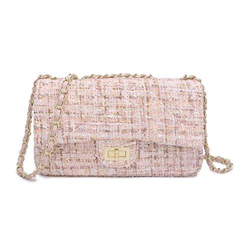 Women's Tweed Handbag Quilting Envelope Cross Body Shoulder Bag (M, Pink)