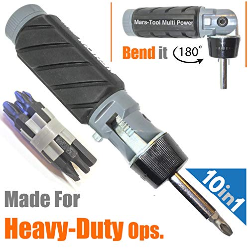 Reversible Screwdriver Set - 10 in 1 Impact Multibit ADJUSTABLE ANGLE RATCHETING SCREWDRIVER SET Power Torque Grade Reversible Ratchet NONSLIP Big Rubber Handle Grip for Oily Hand Work Compact Portable Multi Bit Phillips Hex Torx