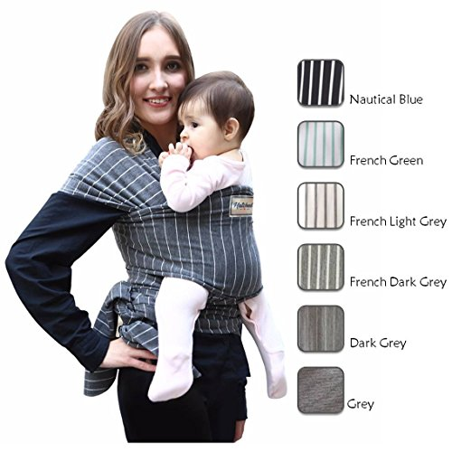 Pattern Sling Infant (Hatched! Soft Breathable Natural Cotton Baby Sling Wrap Carrier - Soft & Comfortable - Lightweight Carrier Suitable for Infants - Breast Feeding Cover - Stripes (Dark Grey))