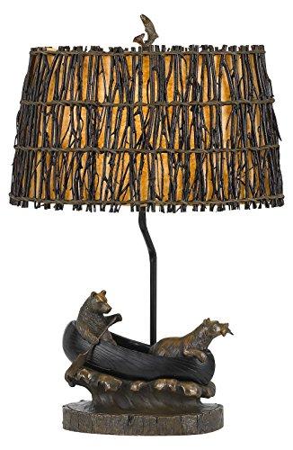 150W 3 Way Bear in Canoe Resin Table Lamp