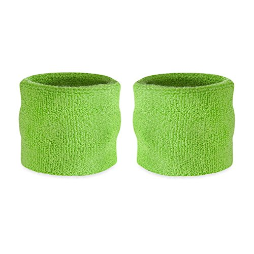 Suddora Kids Wrist Sweatband Also Available in Neon Colors - Athletic Cotton Terry Cloth Wristband for Sports (Pair) (Neon Green) (Goku Wristband)