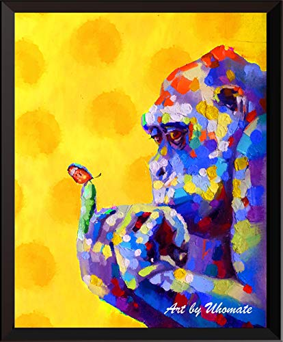 - Uhomate Watercolor Gorilla and Butterfly Print Original Chimpanzee Painting Ape Cute Animal Canvas Wall Art Print Poster Baby Gift Nursery Decor Living Room Wall Decor A140 (11X14)