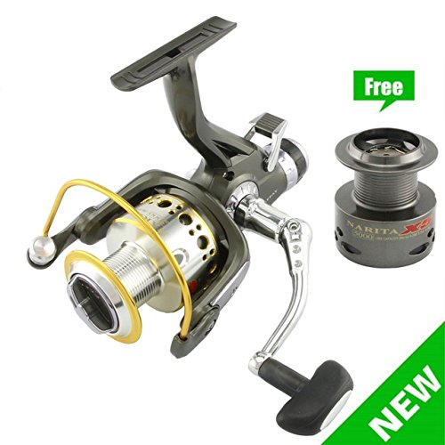 NARITA X5 Surf Fishing Reels 1 Way + 9 Ball Bearings Riverhawk Smooth Metal Carp Spinning Reel Bait Runner Fishing Wheel + Spare spool … For Sale