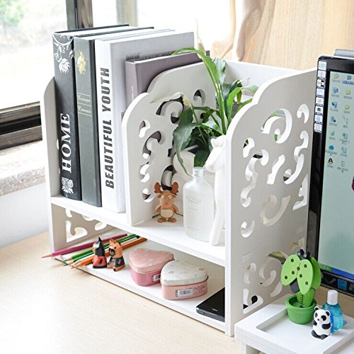 Dl Furniture   3 Compartment Wood Plastic Composite Desk Organizer  Perfect For Book Shelf  Make Up Organizer  Cookie Rack   White