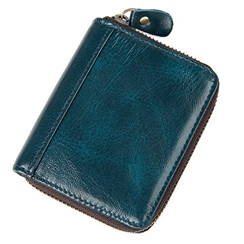 Holder Shape Card (HASFINE RFID Blocking Credit Cards Holder Genuine Leather Compact Accordion Zipper Wallet for Women,Cyan blue square)