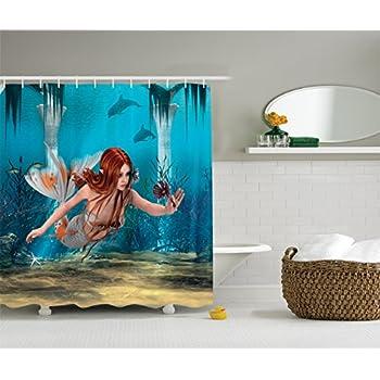 Mermaid Decor Shower Curtain Set By Ambesonne, Lifelike Mermaid Holding A  Sea Lily Magic World