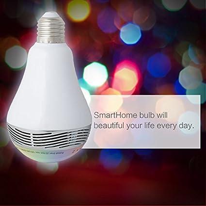 ... inteligente luz E27 6W RGB LED Color de la ampolla de la lámpara Cambio estéreo de Audio del altavoz reproductor de música Con Control remoto APP Para ...